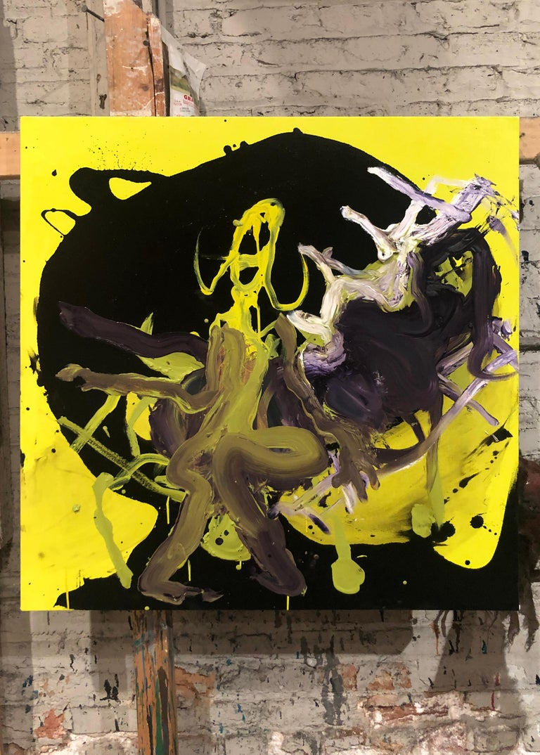Figure - Original Abstract Oil Painting, Bright Yellow and Black with Figures For Sale 1