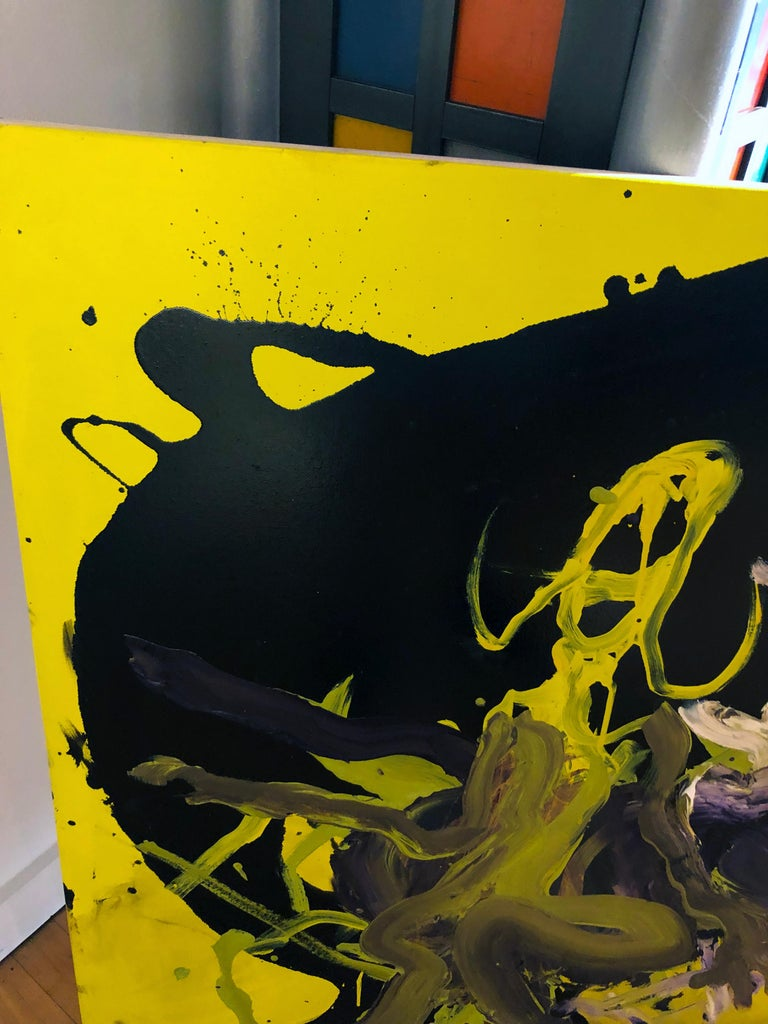 Figure - Original Abstract Oil Painting, Bright Yellow and Black with Figures For Sale 5
