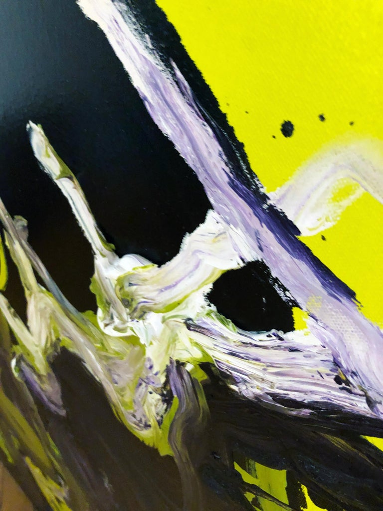 Figure - Original Abstract Oil Painting, Bright Yellow and Black with Figures For Sale 8