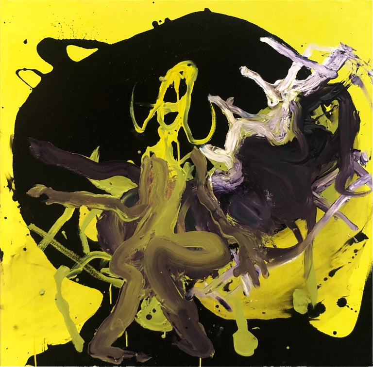 Wesley Kimler Abstract Painting - Figure - Original Abstract Oil Painting, Bright Yellow and Black with Figures