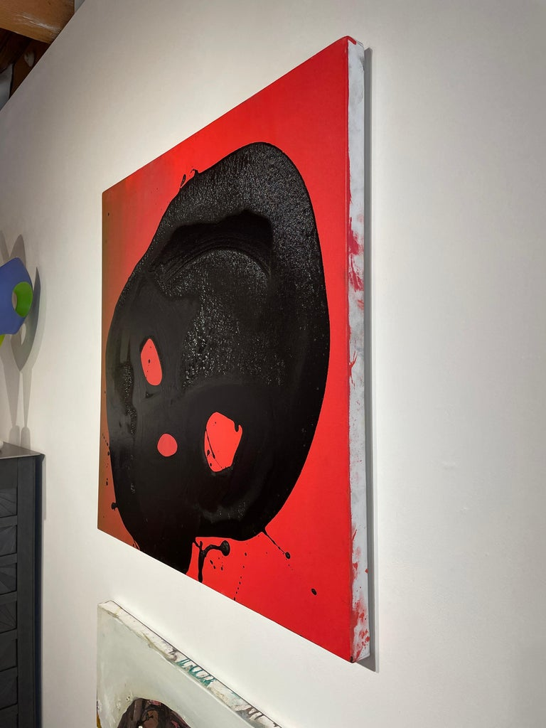 Non Sun Blob A - Original Abstract Oil Painting, Black Figure on Red Background For Sale 1