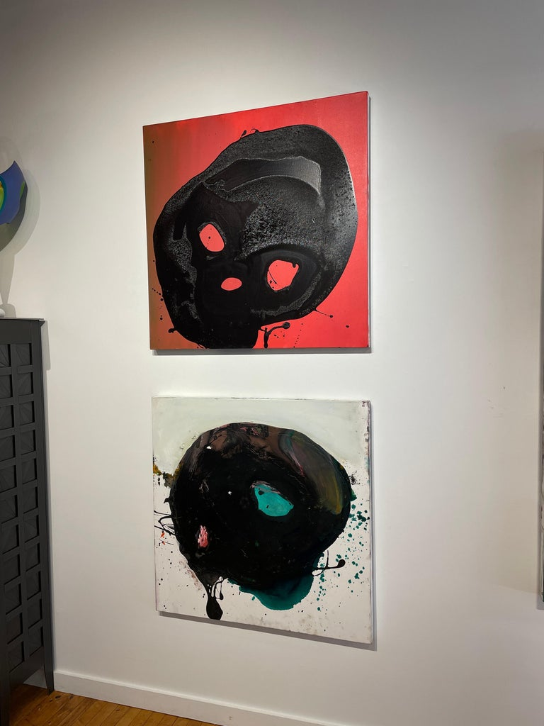 Non Sun Blob A - Original Abstract Oil Painting, Black Figure on Red Background For Sale 2