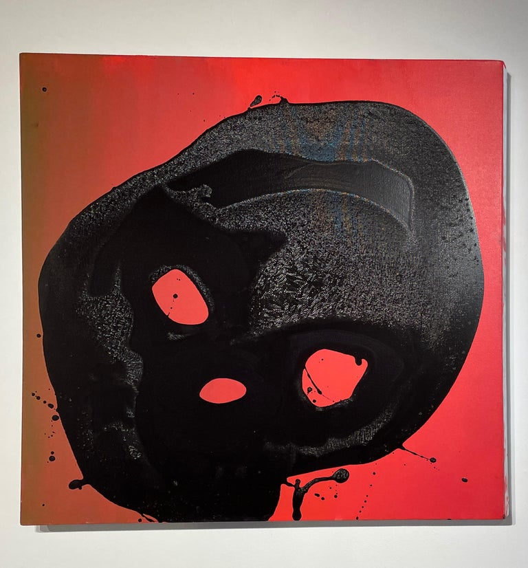 Non Sun Blob A - Original Abstract Oil Painting, Black Figure on Red Background For Sale 3