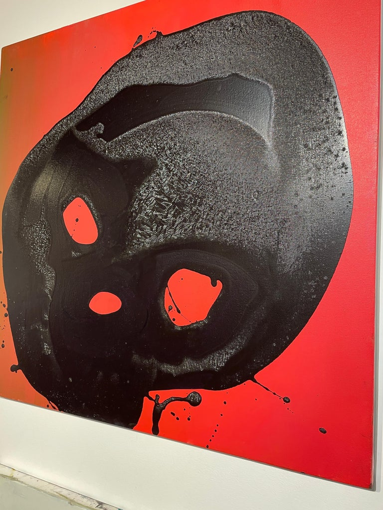 Non Sun Blob A - Original Abstract Oil Painting, Black Figure on Red Background For Sale 4