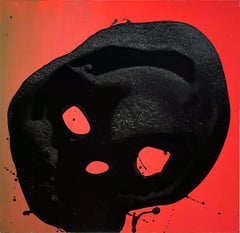 Non Sun Blob A - Original Abstract Oil Painting, Black Figure on Red Background