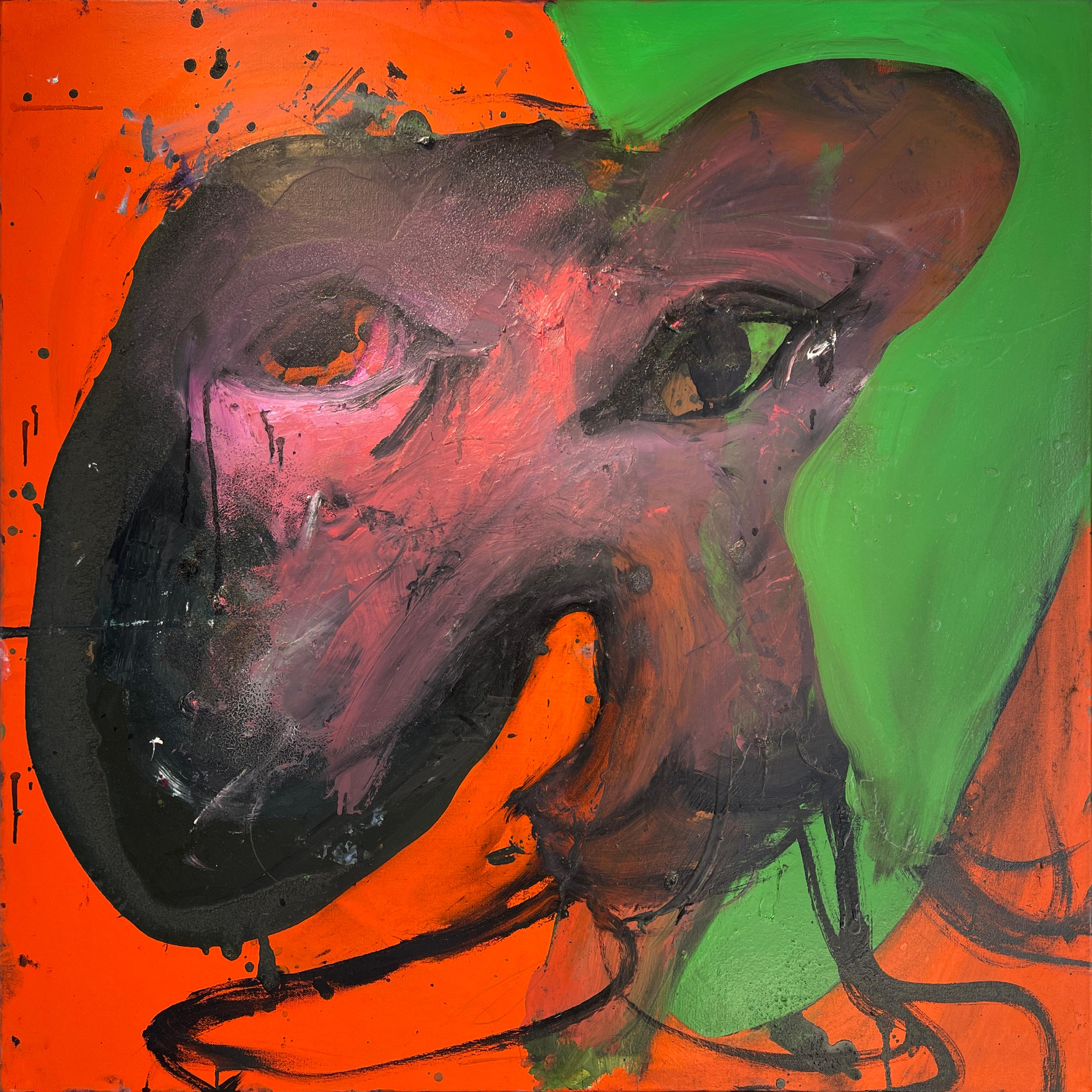 Woman, Original Oil Painting, Abstract Figure on Red and Green Background