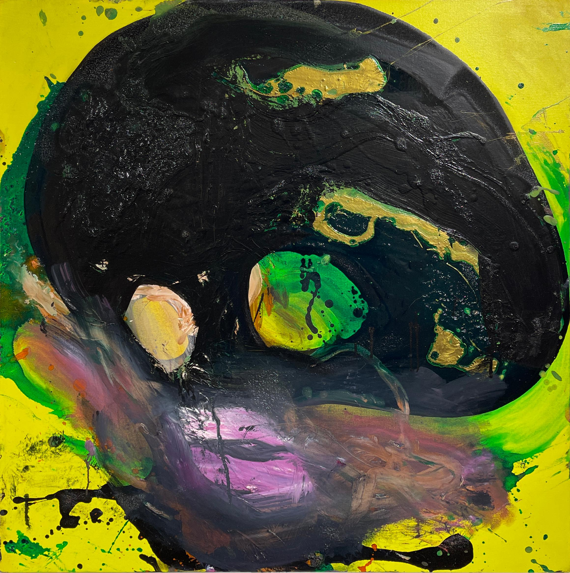 Blob Head, Original Abstract Oil Painting,  Figure w Bright Yellow, Green & Pink
