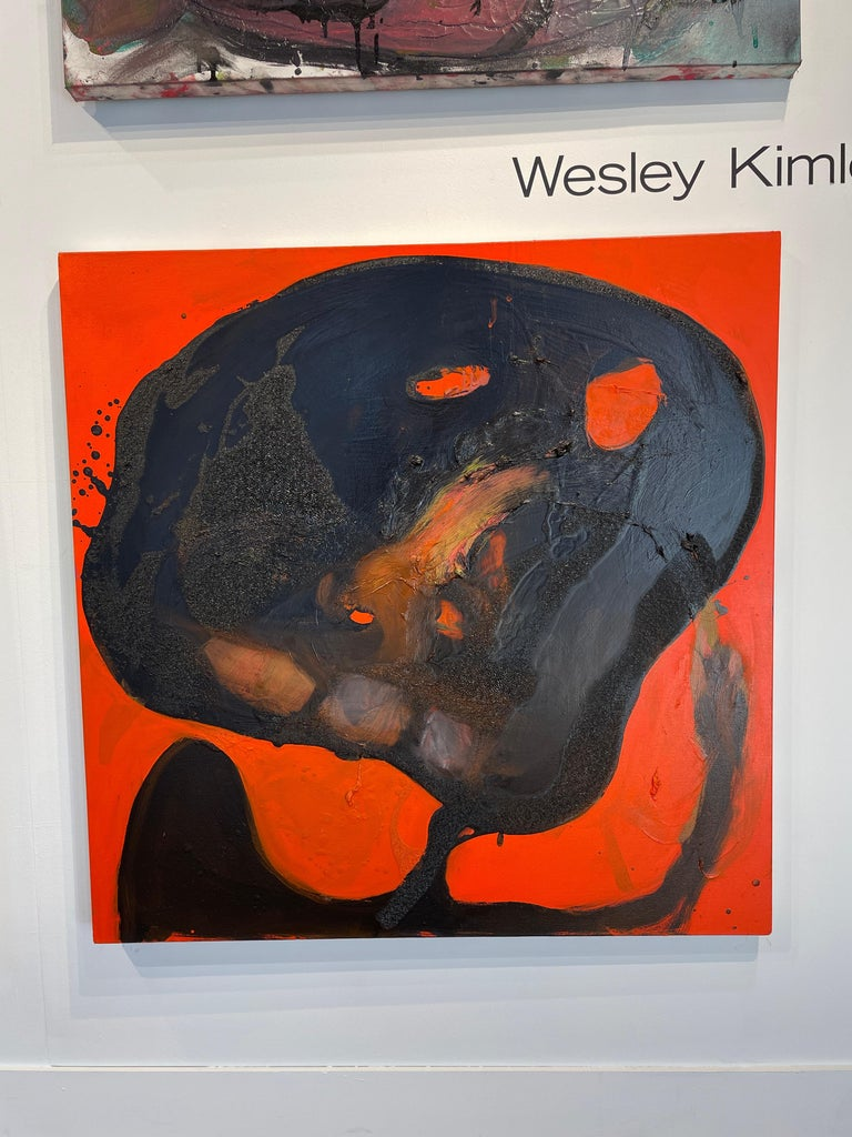 Red Monster - Black Abstract Figure on Red Background, Original Oil Painting For Sale 2