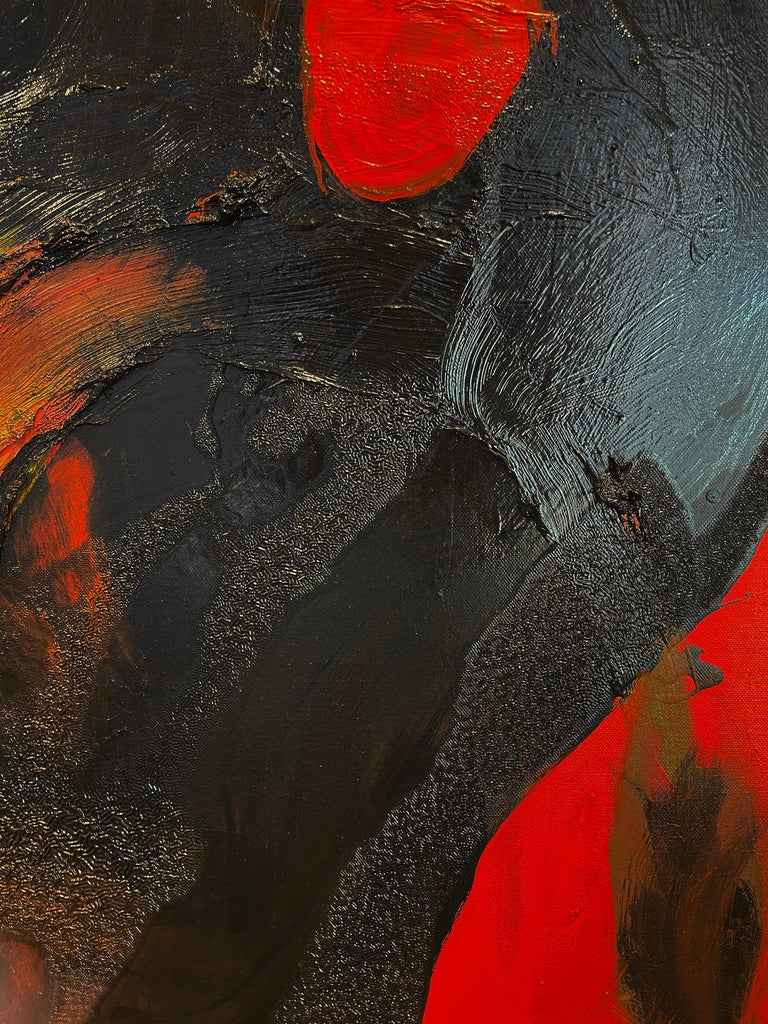 Red Monster - Black Abstract Figure on Red Background, Original Oil Painting For Sale 4