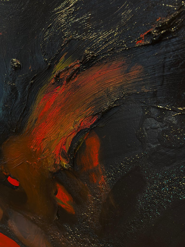Red Monster - Black Abstract Figure on Red Background, Original Oil Painting For Sale 5