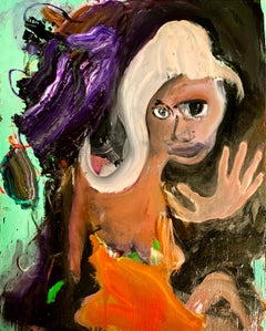 The Actress, Multi-Colored Abstract Figure on Green Background, Oil Painting