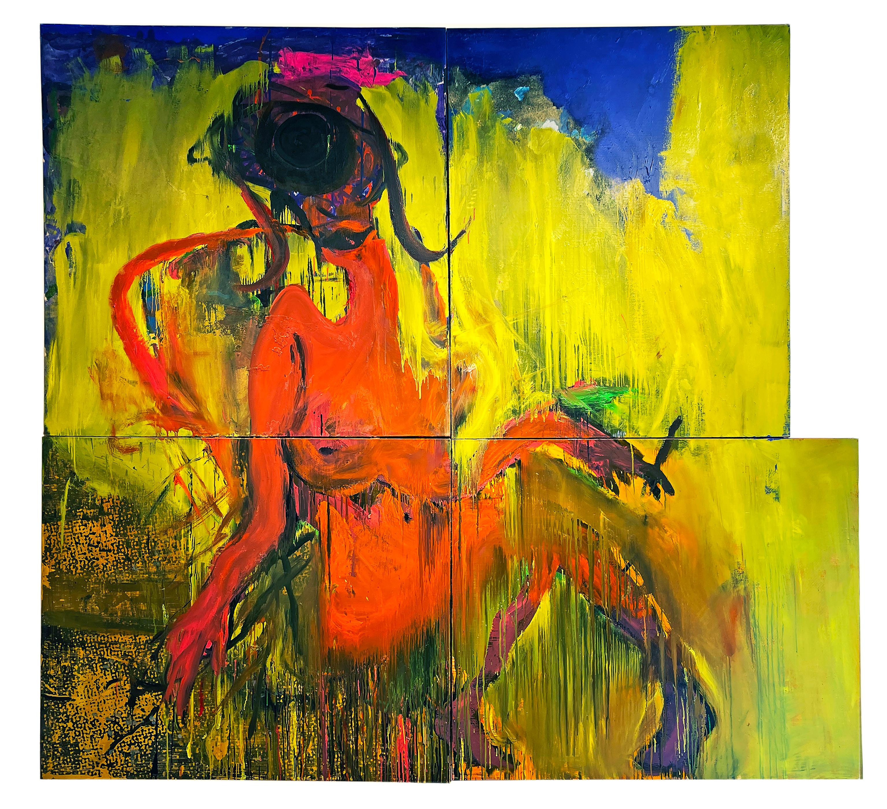 The Maven - Monumental Scale Reclining Figure, Abstract Expressionist Painting