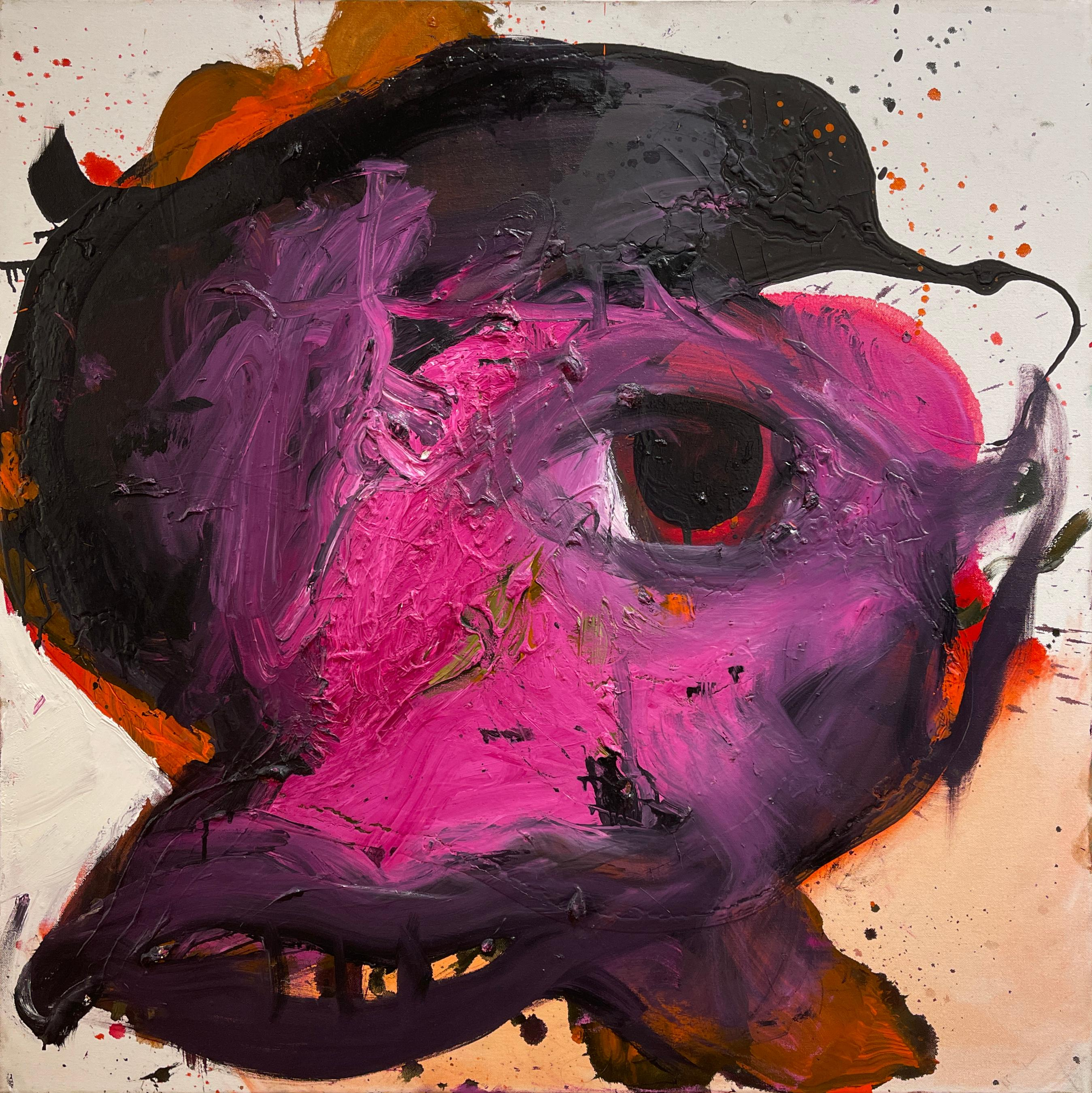 The Pink Musketeer, Black Abstract Figure with Bright Fuchsia, Red, and Orange