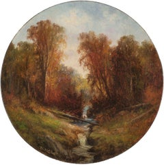 Autumn Stream, Landscape by Wesley Webber (1839-1914, American)