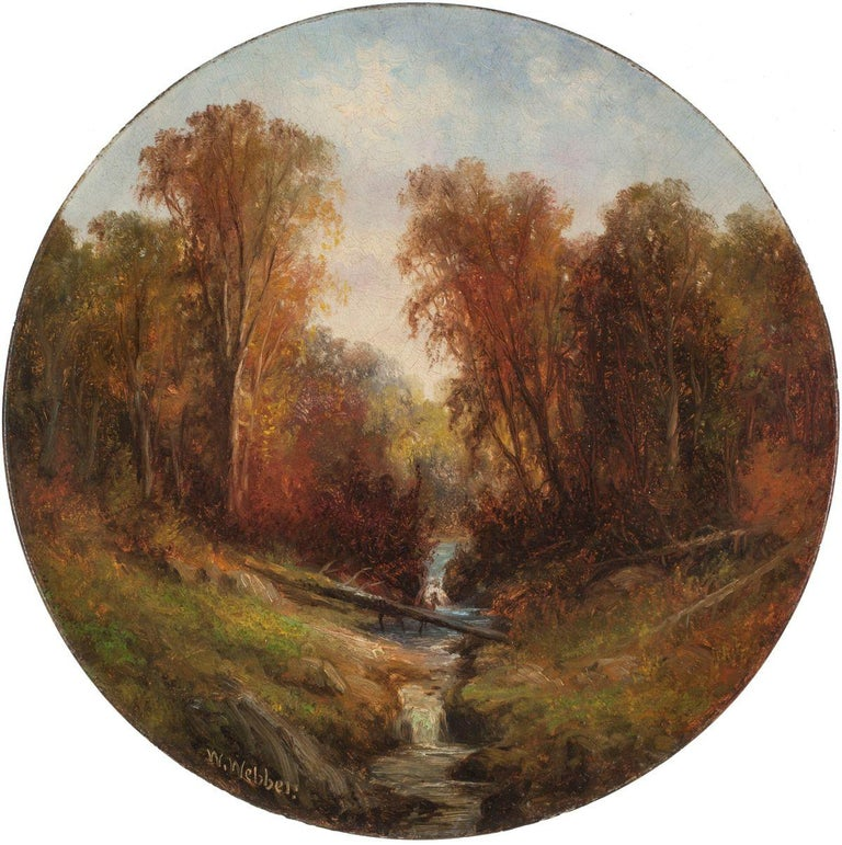 WESLEY WEBBER (1839-1914) Autumn Stream Oil on concave composition board 12 inches diameter Signed lower left  Wesley Webber was born in Gardiner, Maine and became interested in art at an early age. He began his career as an apprentice to an