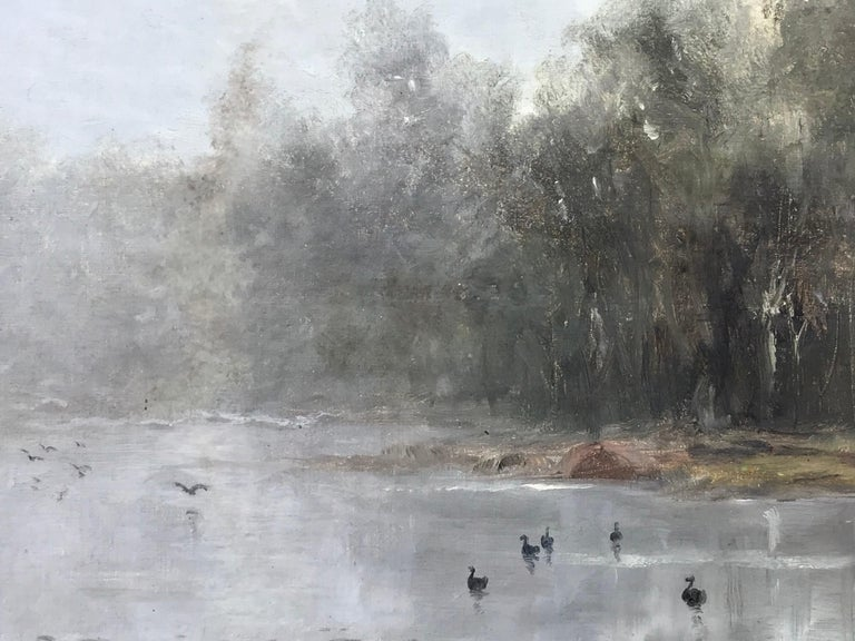 """Misty Morning"" - Gray Landscape Painting by Wesley Webber"
