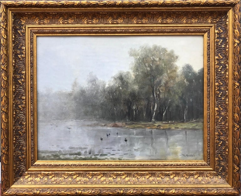 Here for your consideration is a very atmospheric painting by the well known American artist, Wesley Webber. Signed lower right.  Circa 1890.  Condition: Very good. Relined canvas Overall framed in period style reproduction gold leaf 22.5 by 27.25