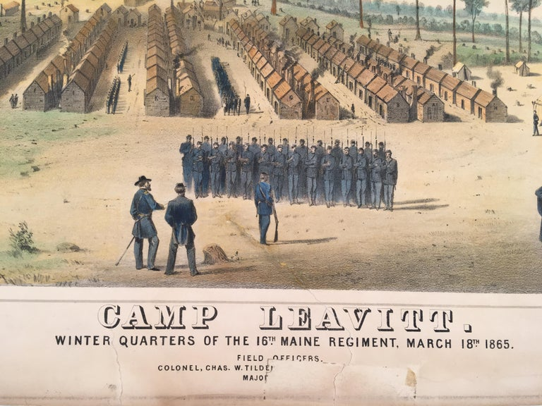 Camp Leavitt.  Winter Quarters of the 16th Maine Regiment, March 18, 1865 - Print by Wesley Webber