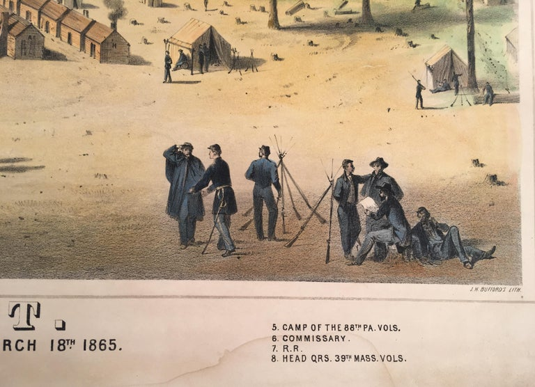Camp Leavitt.  Winter Quarters of the 16th Maine Regiment, March 18, 1865 - Realist Print by Wesley Webber