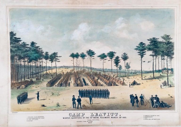 Wesley Webber Landscape Print - Camp Leavitt.  Winter Quarters of the 16th Maine Regiment, March 18, 1865
