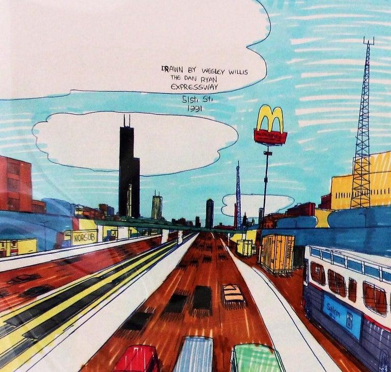Post-Modern Wesley Willis Art 1963-2003 Dan Ryan Expressway  For Sale