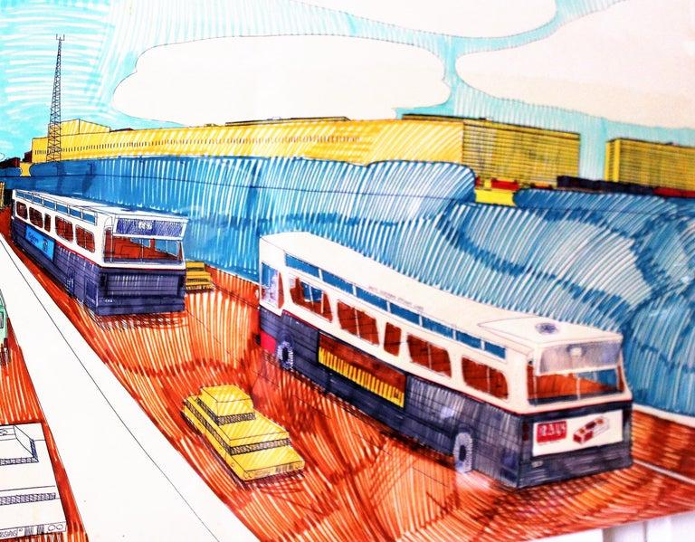 American Wesley Willis Art 1963-2003 Dan Ryan Expressway  For Sale