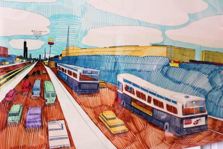 Late 20th Century Wesley Willis Art 1963-2003 Dan Ryan Expressway  For Sale