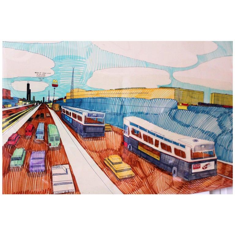 Wesley Willis Art 1963-2003 Dan Ryan Expressway  For Sale