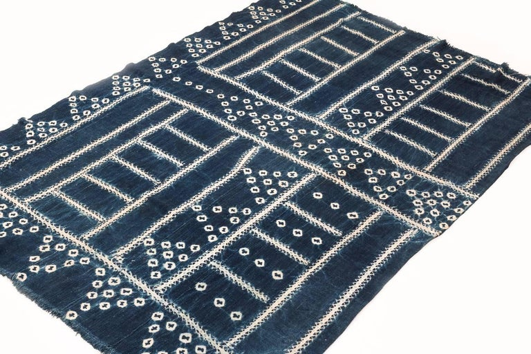 An indigo dyed textile from West Africa. Measures: 3'6