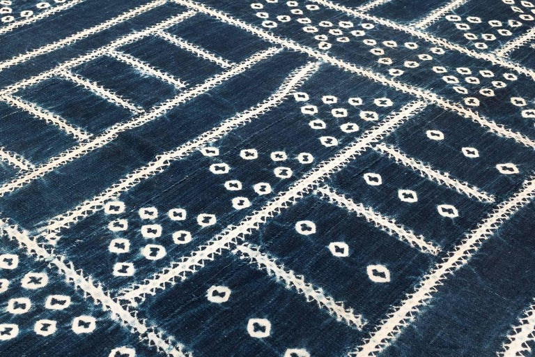 West African Indigo Textile In Excellent Condition For Sale In New York, NY
