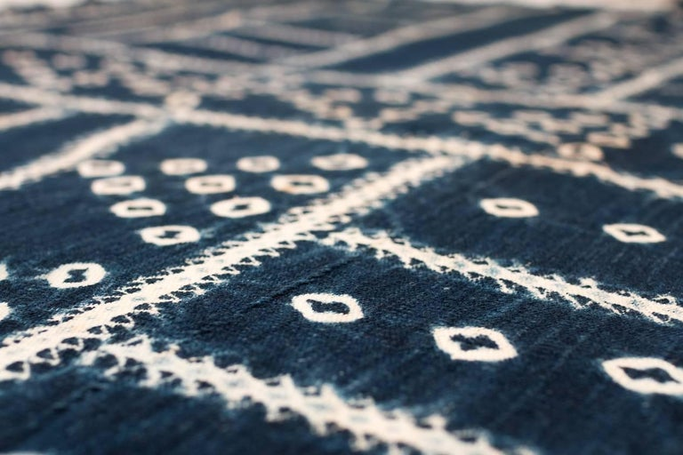 Cotton West African Indigo Textile For Sale