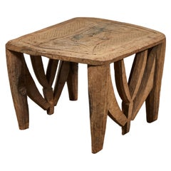 West African Wooden Carved Side Table
