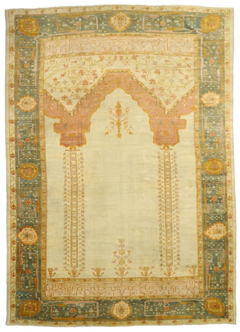West Anatolian Antique Turkish Oushak Oversize Rug