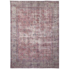 Distressed Antique Turkish Rug. Maroon, Gray, Blue, Beige Colors