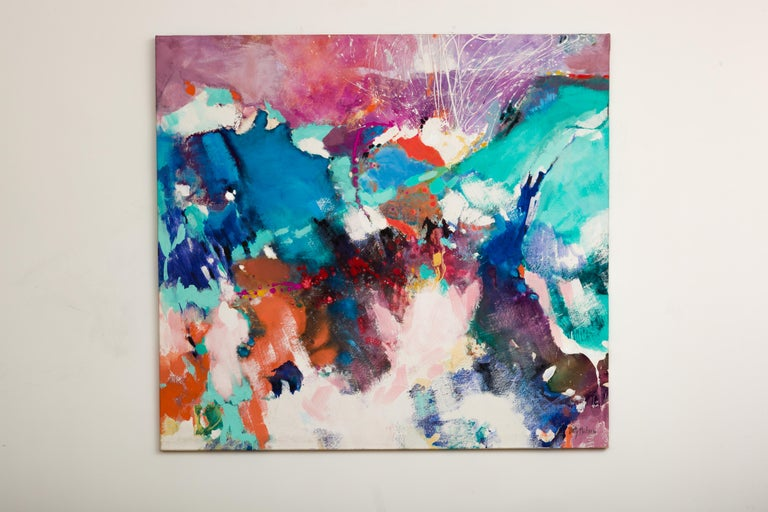 Large 1980s abstract acrylic on canvas painting entitled