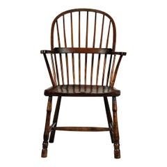 West Country Stick Back Windsor Armchair, English, Ash Elm Beech, Rustic, Simple