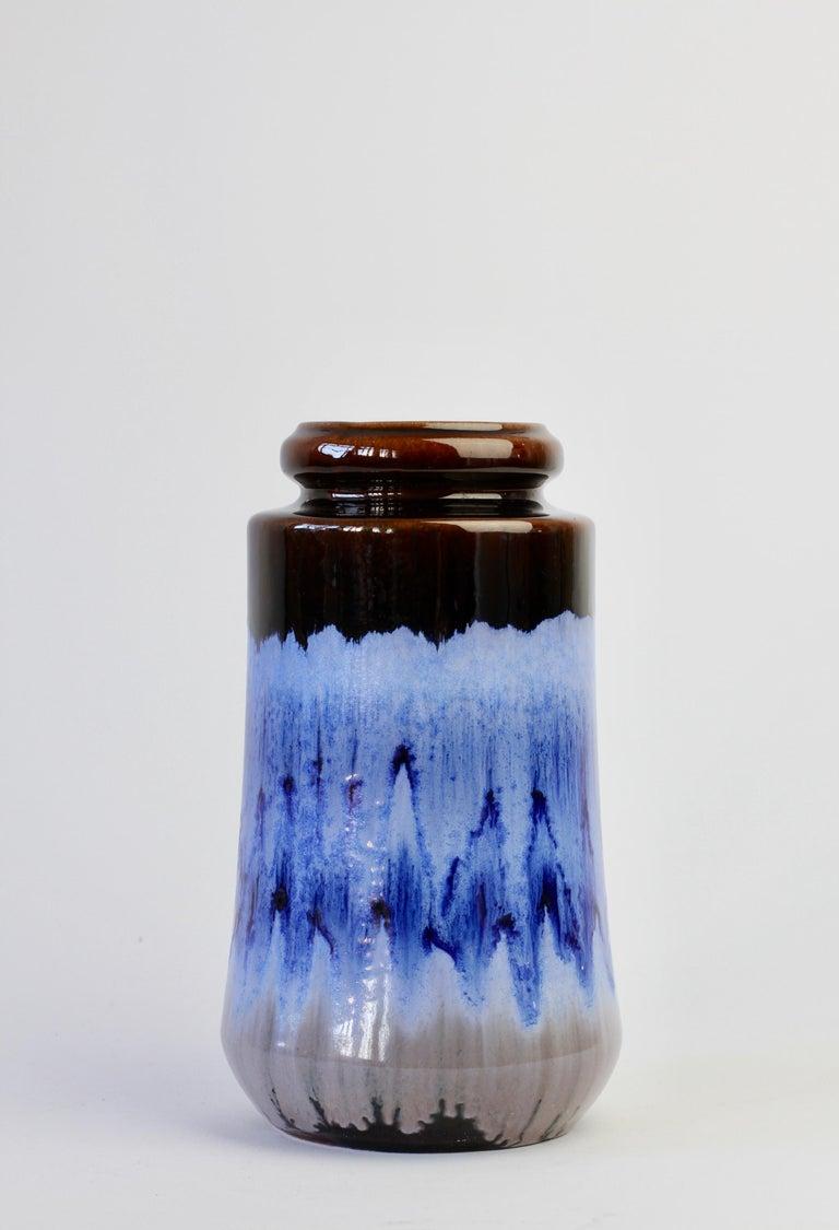 West German Midcentury Blue Lava Drip Glaze Vases by Scheurich, circa 1965 For Sale 3
