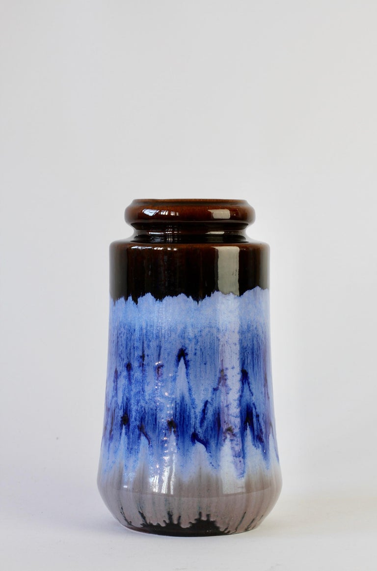 West German Midcentury Blue Lava Drip Glaze Vases by Scheurich, circa 1965 For Sale 4