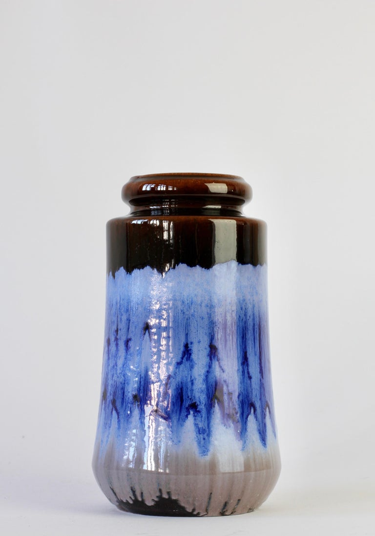 Fired West German Midcentury Blue Lava Drip Glaze Vases by Scheurich, circa 1965 For Sale