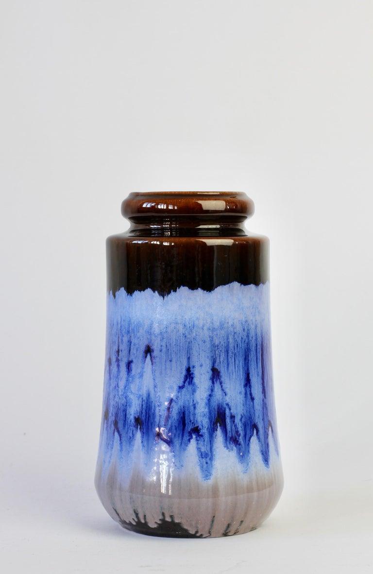 West German Midcentury Blue Lava Drip Glaze Vases by Scheurich, circa 1965 In Good Condition For Sale In Landau an der Isar, Bayern