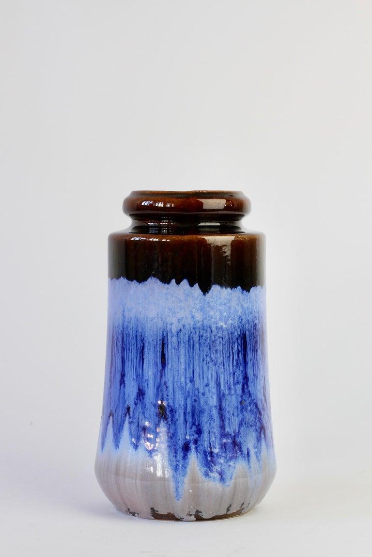 West German Midcentury Blue Lava Drip Glaze Vases by Scheurich, circa 1965 For Sale 1