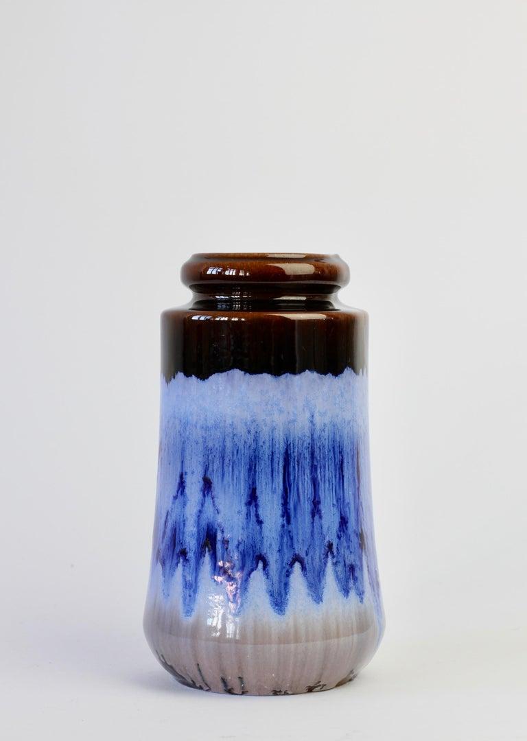 West German Midcentury Blue Lava Drip Glaze Vases by Scheurich, circa 1965 For Sale 2