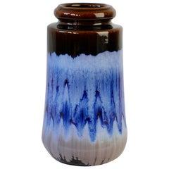 West German Midcentury Blue Lava Drip Glaze Vases by Scheurich, circa 1965