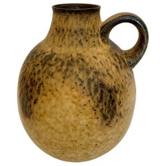West German Oversized and Heavy Pottery Vase with Handle