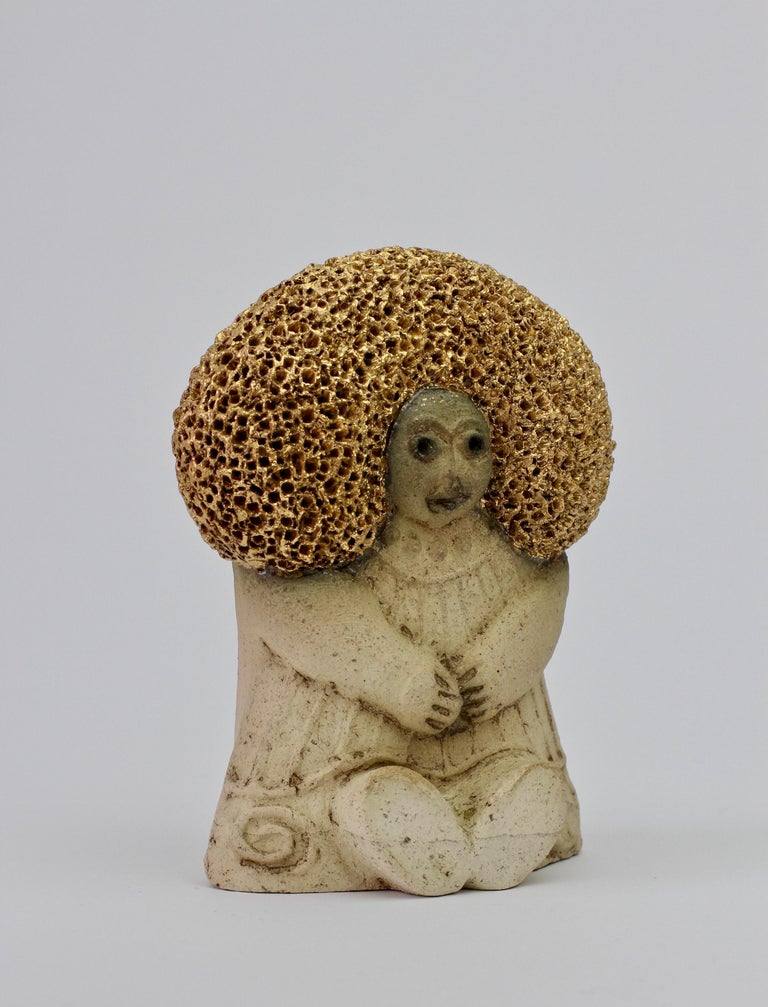 West German Pottery Figurine Women with Golden Afro by Y-Keramik, circa 1980s  For Sale 4