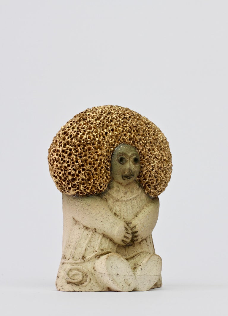 20th Century West German Pottery Figurine Women with Golden Afro by Y-Keramik, circa 1980s  For Sale