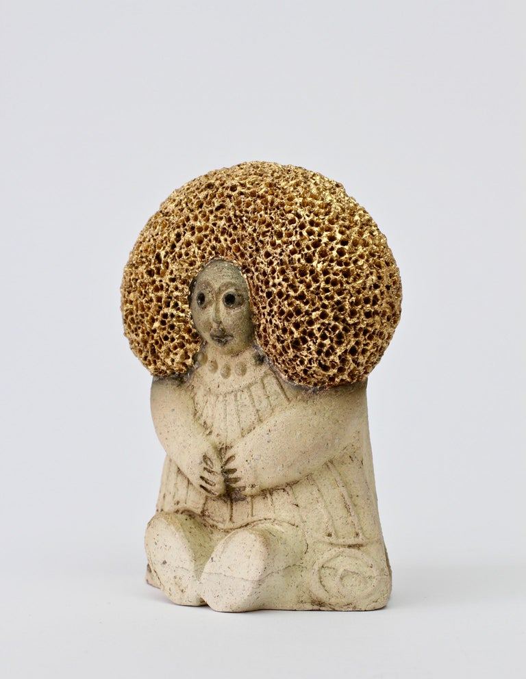 West German Pottery Figurine Women with Golden Afro by Y-Keramik, circa 1980s  For Sale 3