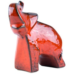 West German Pottery Red Glazed Ceramic Elephant Figurine by Bay Keramik, 1960s