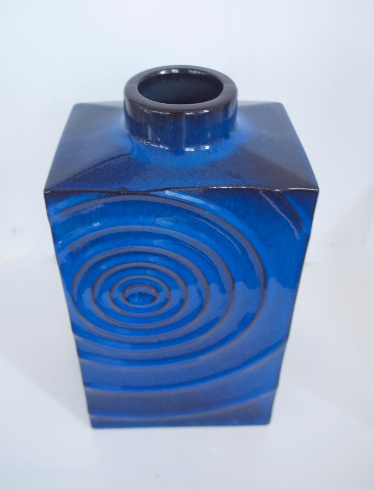Mid-20th Century West German Pottery Vases Zyklon Op Art by Cari Zalloni for Steuler, 1960s For Sale