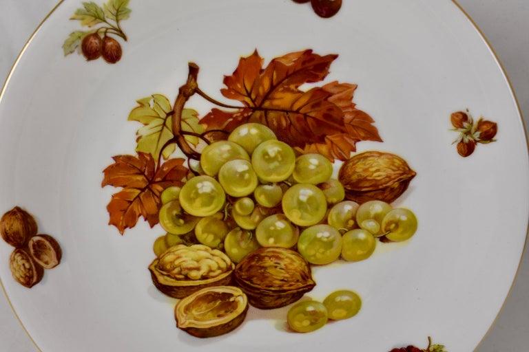 Polychromed West German Selten Weiden Autumn Fruit & Nuts Porcelain Plates, Set of 8 For Sale